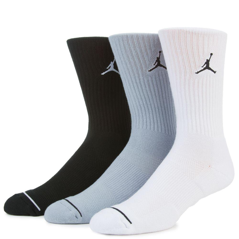 New Jordan Jumpman Crew 3 Pack Socks Size UK 5-8 EUR 38-42 Multi SX5545 011