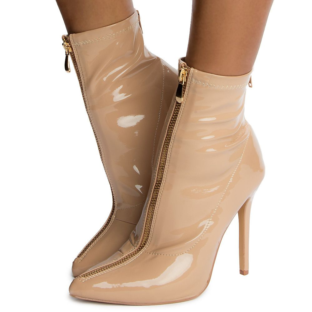 Womens Luanza-21 High Heel Ankle Boots Nude