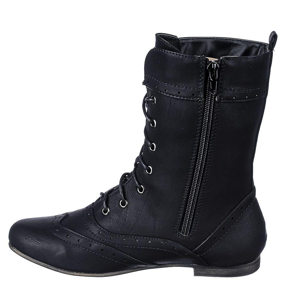 Women's Flat Lace-Up Boot Wingtip Black