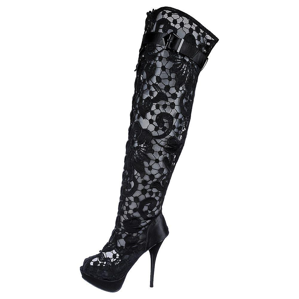 Women's Thigh High Boot Wissper Black/lace