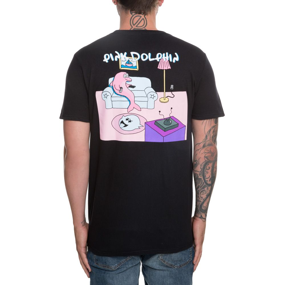 Phenomenal Mens Pink Dolphin Couch Potato Tee Black Caraccident5 Cool Chair Designs And Ideas Caraccident5Info