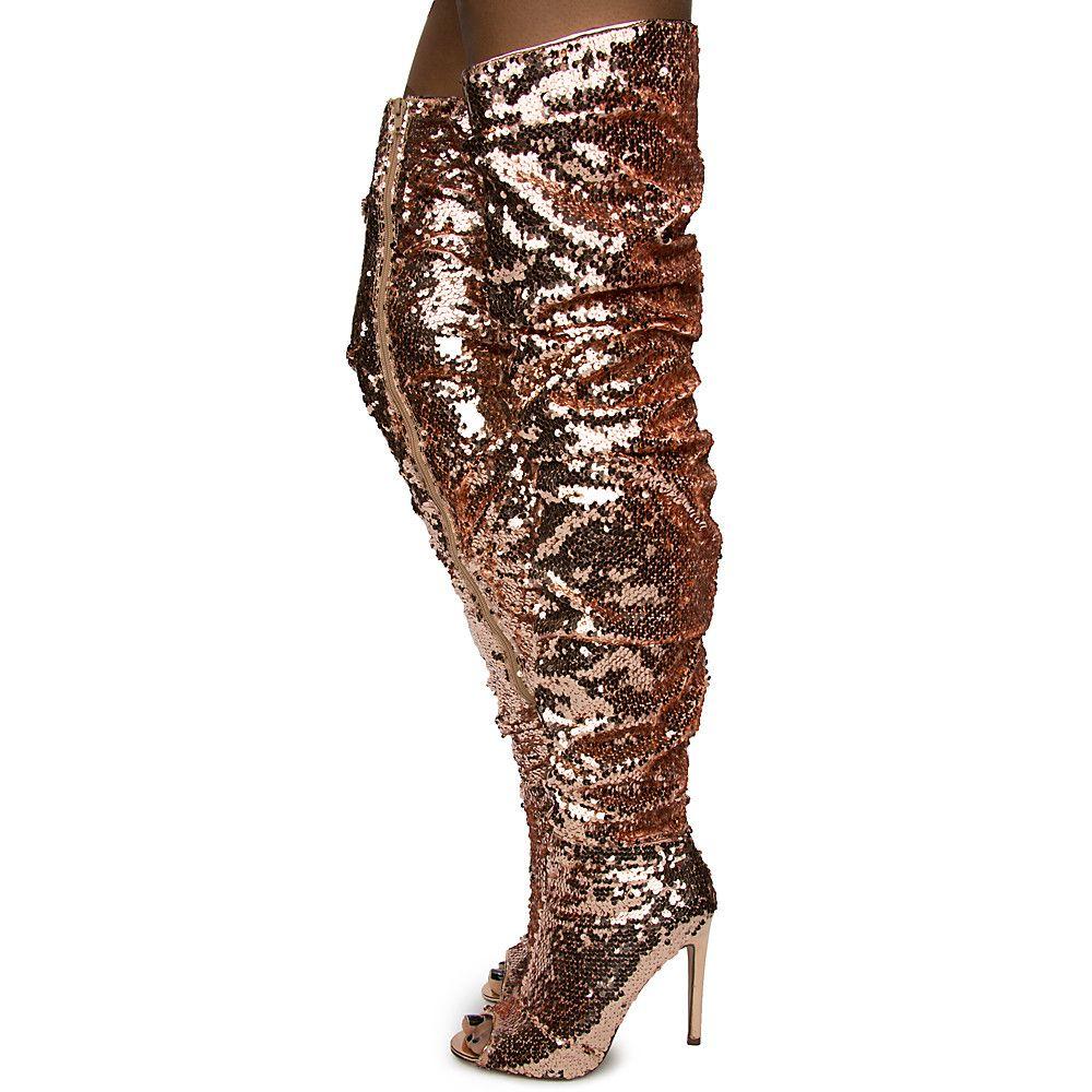 Knee Boot ROSE GOLD SEQUIN