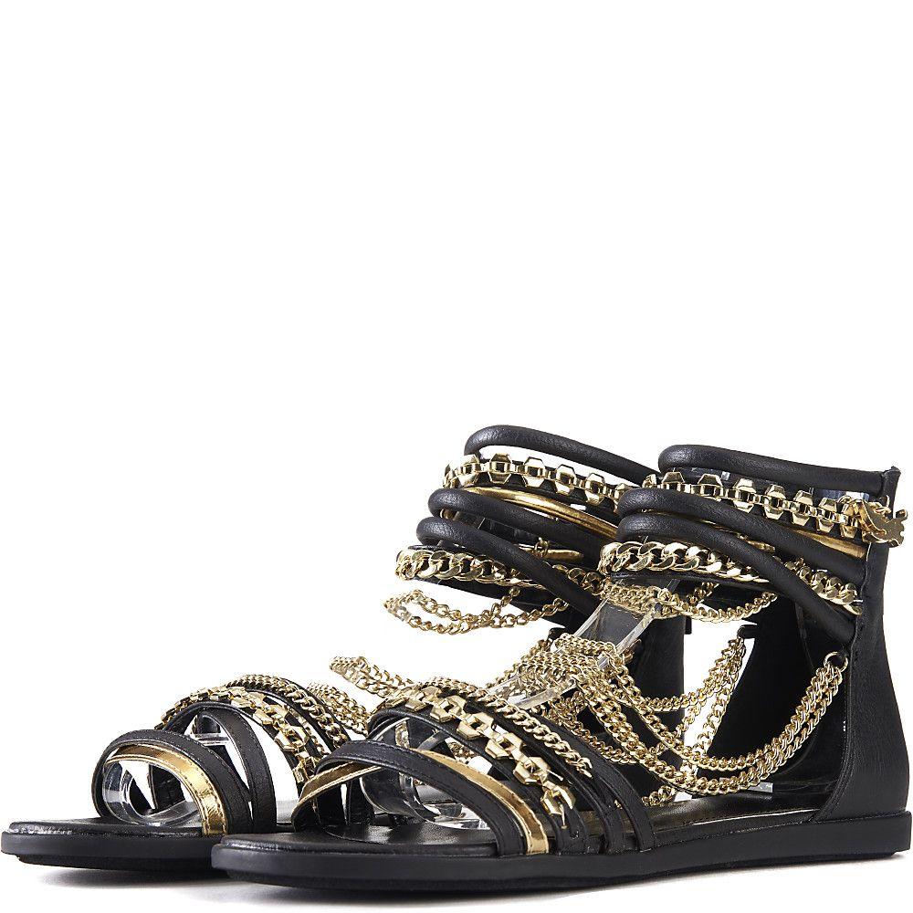 Love All Flat Jeweled Sandal Black/Gold