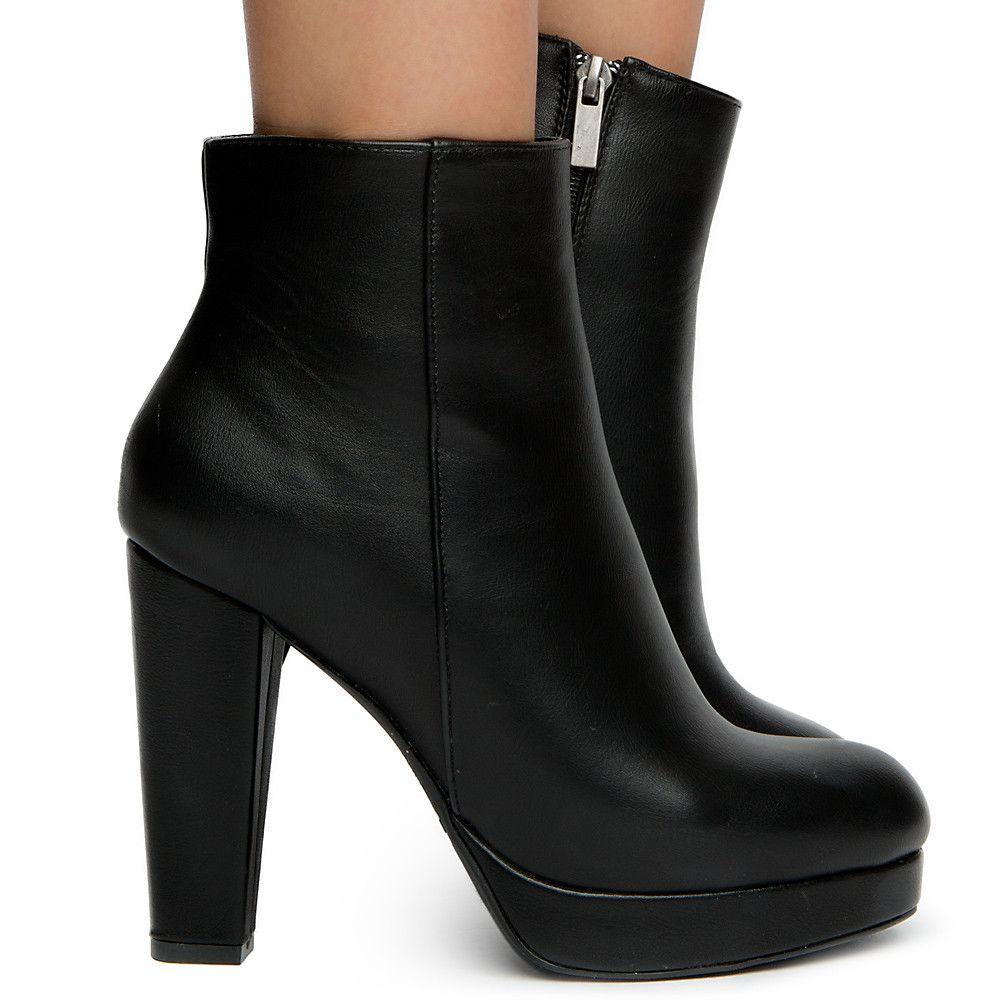 Swirl-01s High Heel Ankle boots BLACK