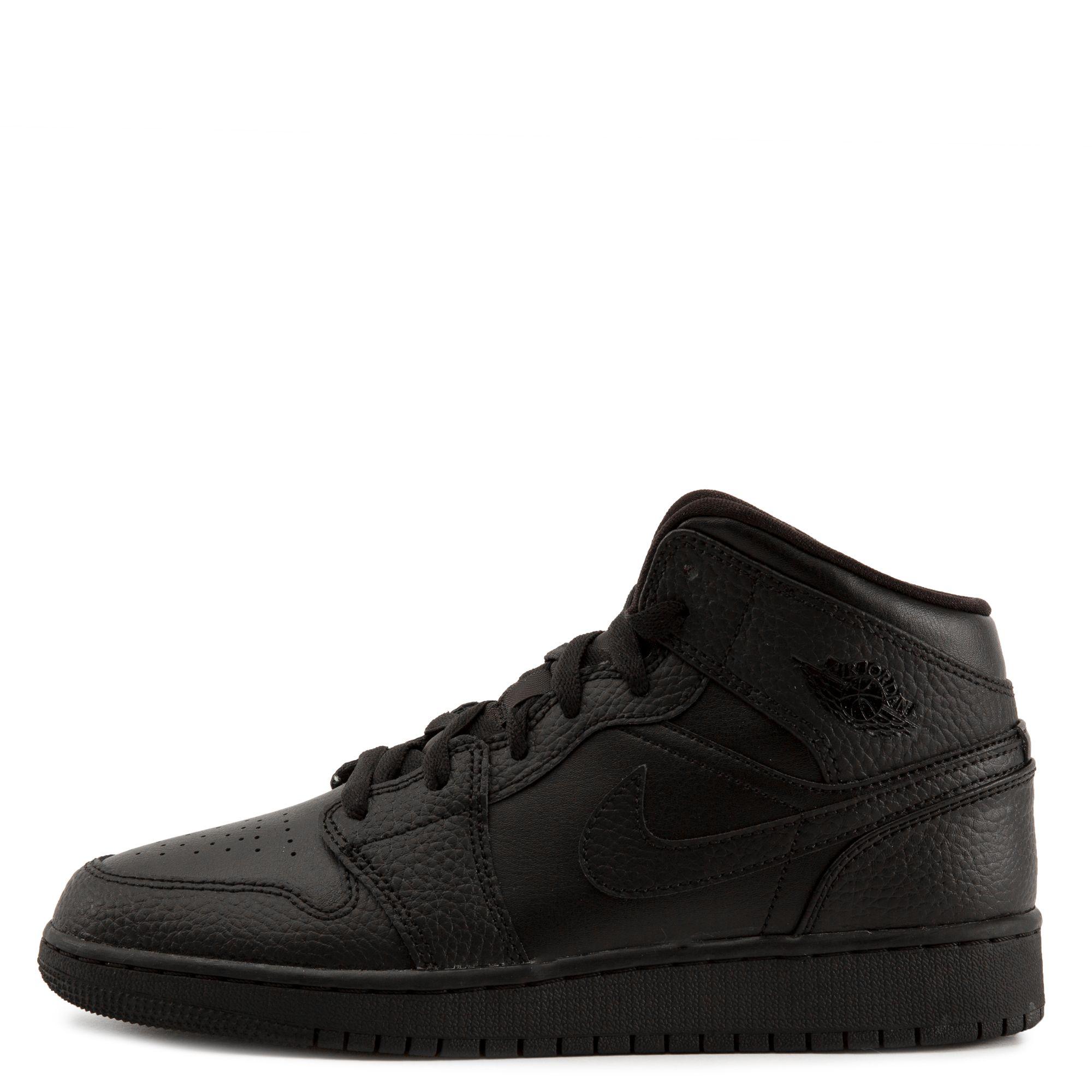 GS) Air Jordan 1 Mid Black/Black-Black