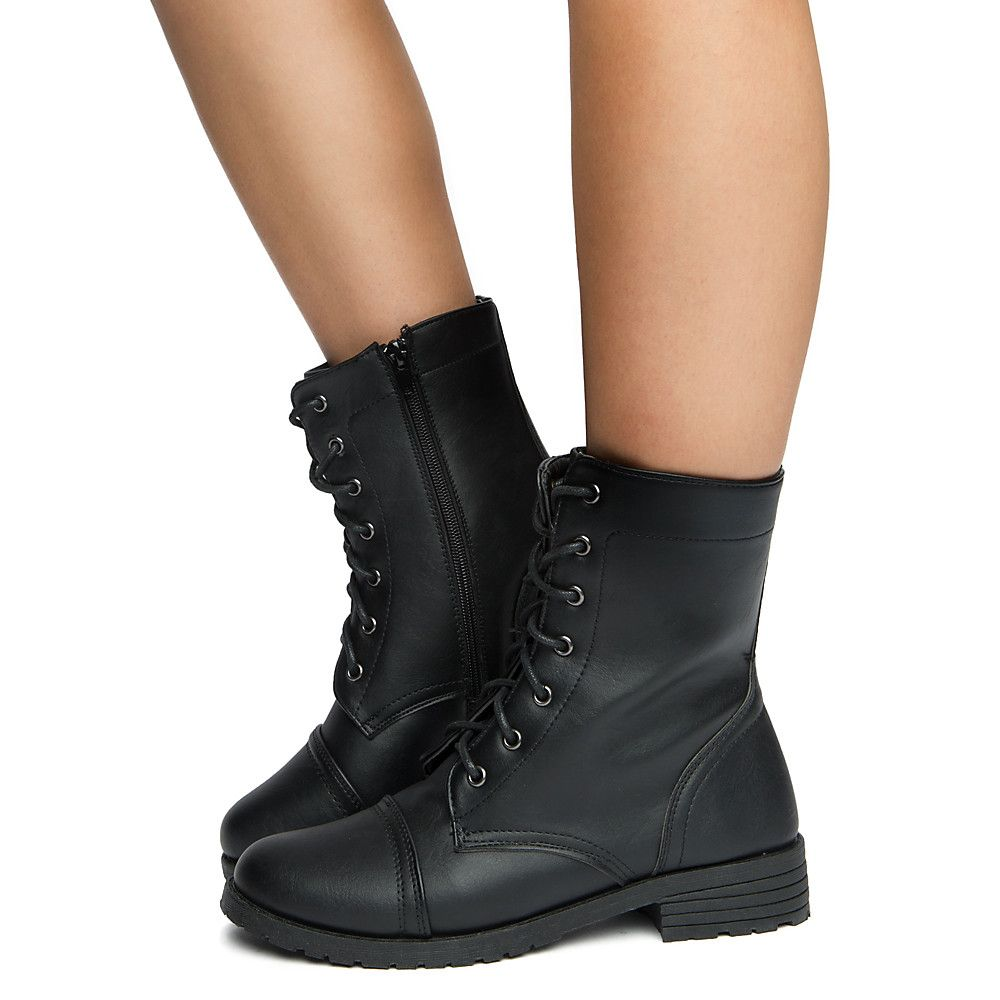 Black Zip Up Combat Boots
