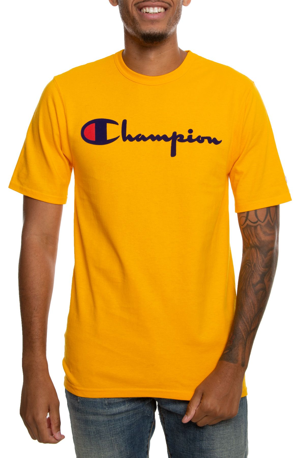 "Champion Heritage Script Size 24 Month T-shirt with Navy Big /""C/"" Shortset."