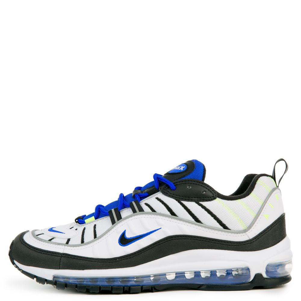 size 40 05fe8 7f3f3 MEN'S NIKE AIR MAX 98 WHITE/BLACK/RACER BLUE/VOLT