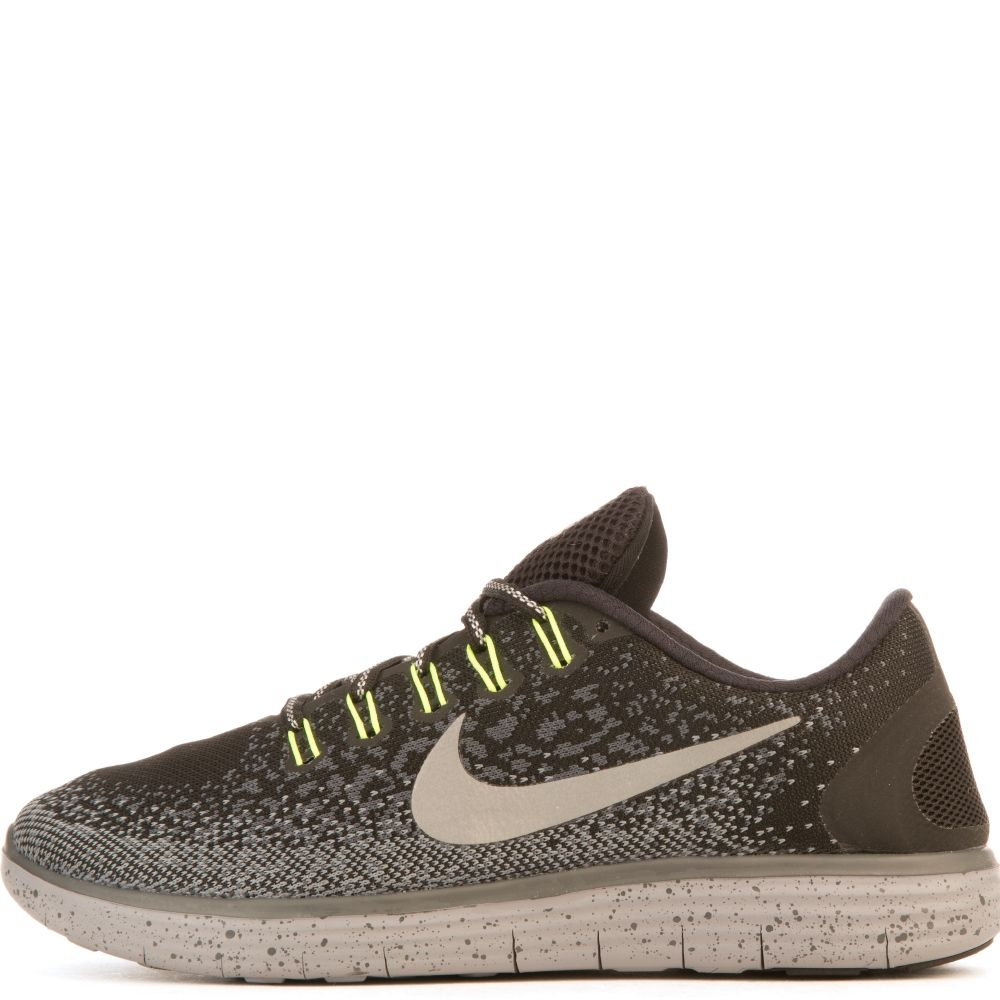 size 40 af07f 18f62 Women's Nike Free Run Distance Shield Black/Silver/Lime Green