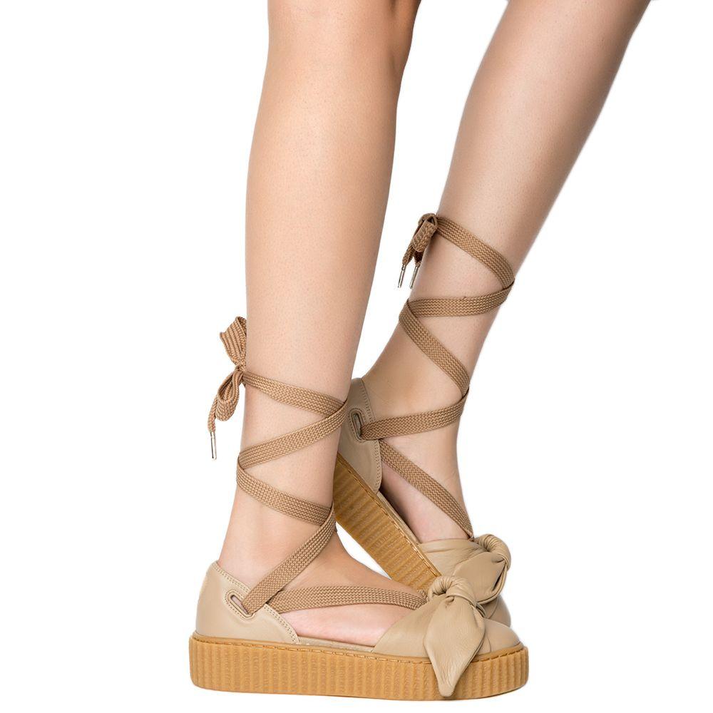 super popular 3878a bc35c Womens Bow Creeper Sandal Natural-Natural-Oatmeal