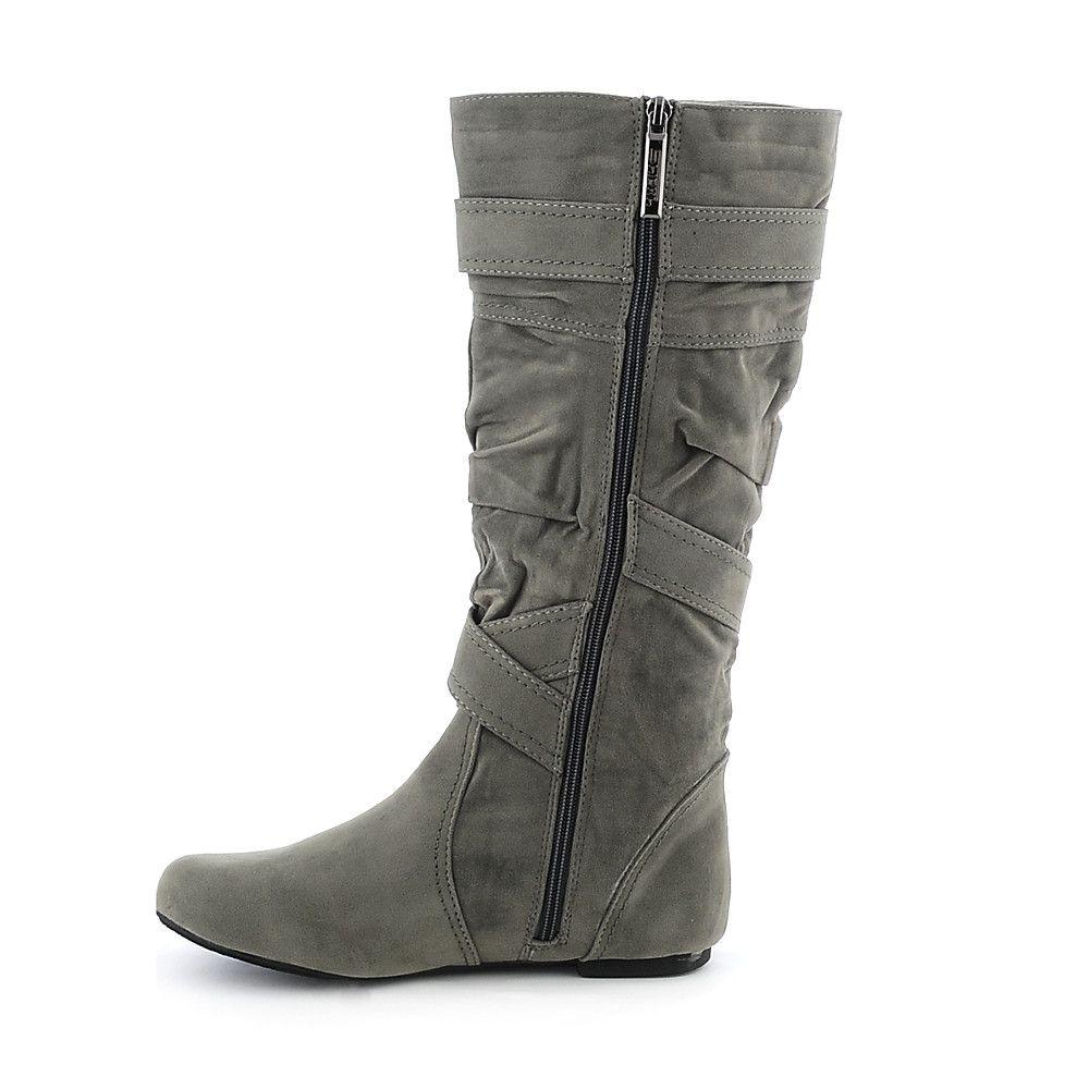 Women's Mid-Calf Flat Boot Sally-4-S Grey