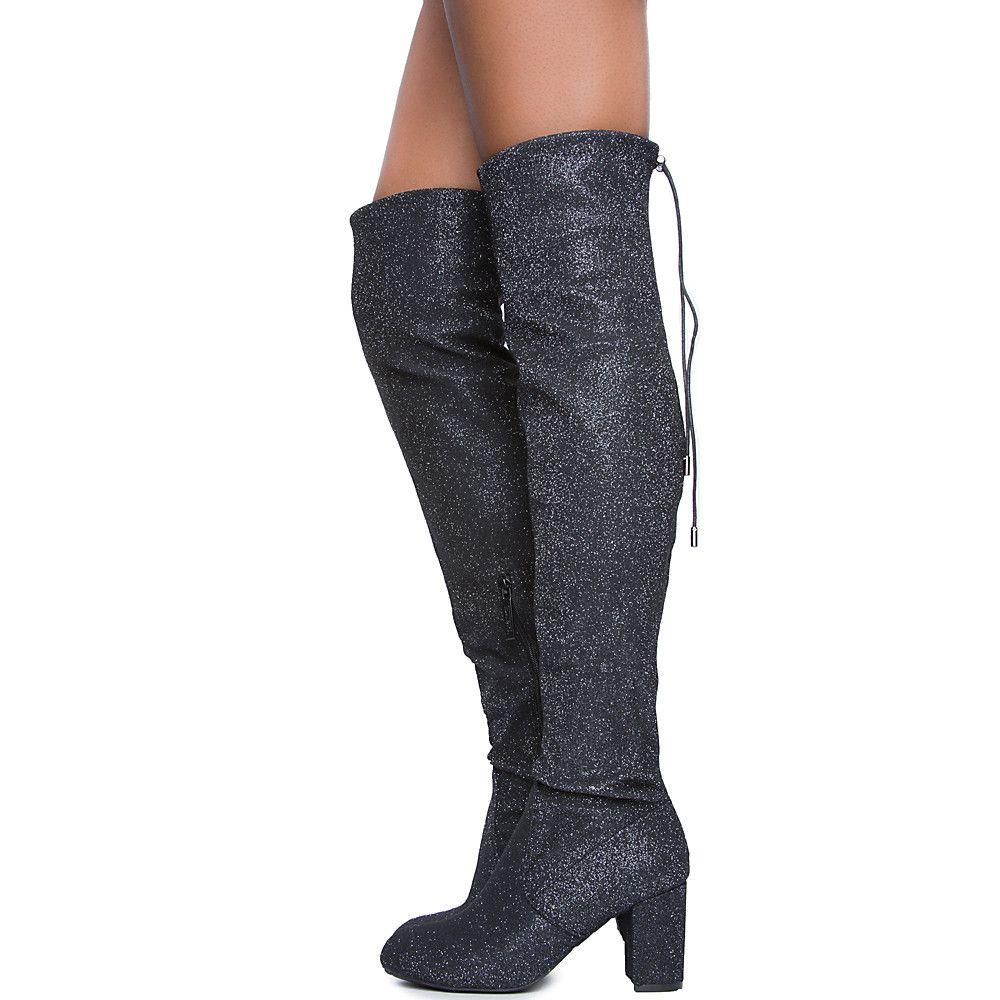 Bonita 02 Knee-High Boot BLACK GLITTER