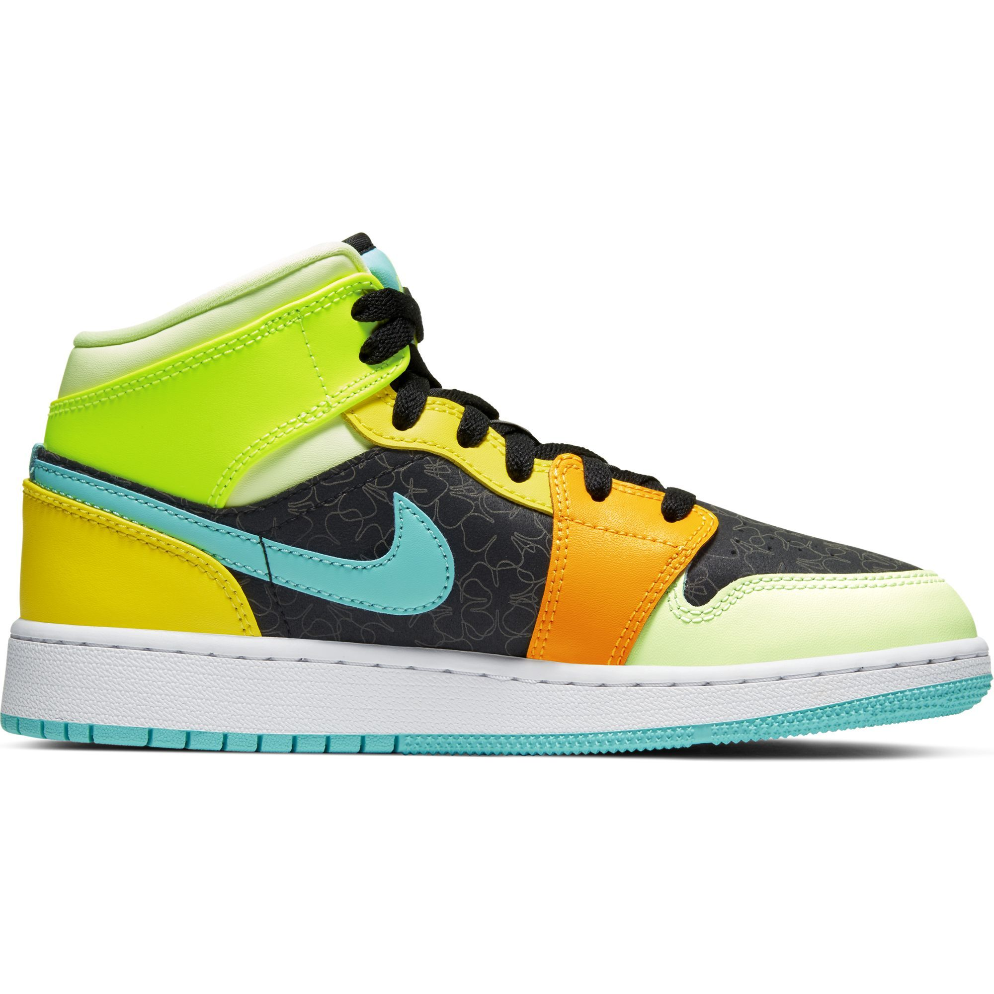Gs Air Jordan 1 Mid Black Aurora Green Opti Yellow