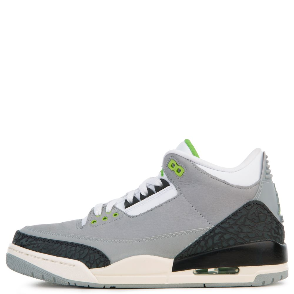 big sale 2f859 b230d AIR JORDAN 3 RETRO LT SMOKE GREY/CHLOROPHYLL-BLACK-WHITE