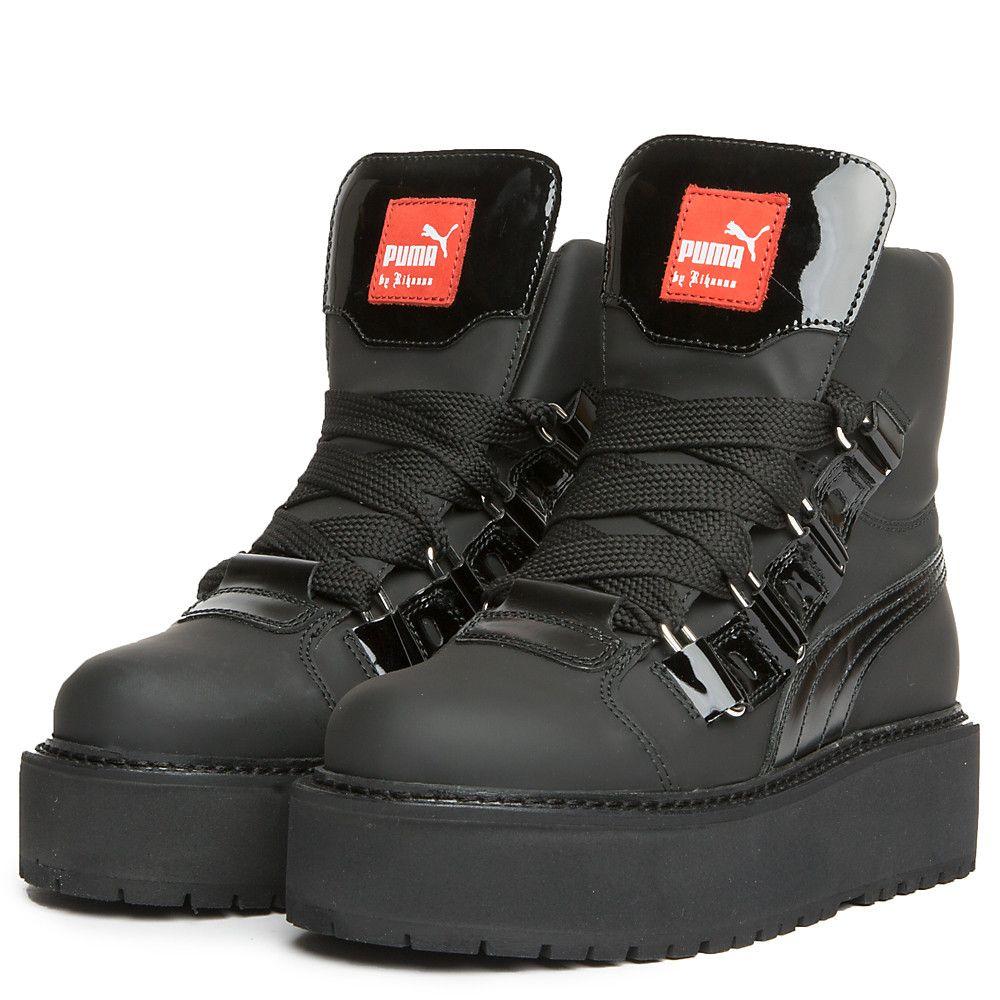 newest f8334 ed913 Women's SB Black eyelet Rihanna Platform Sneaker Black