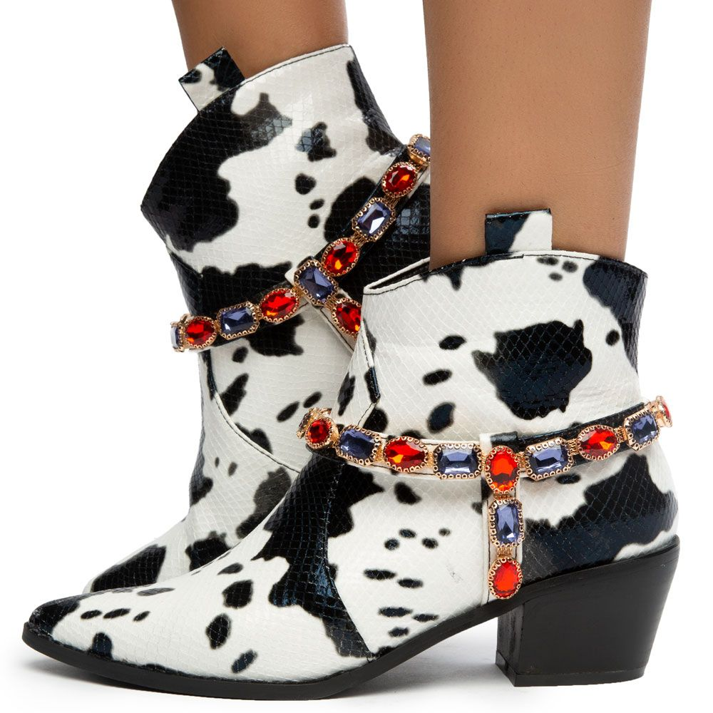 Kaly-1 Cow Print and Gems Boots