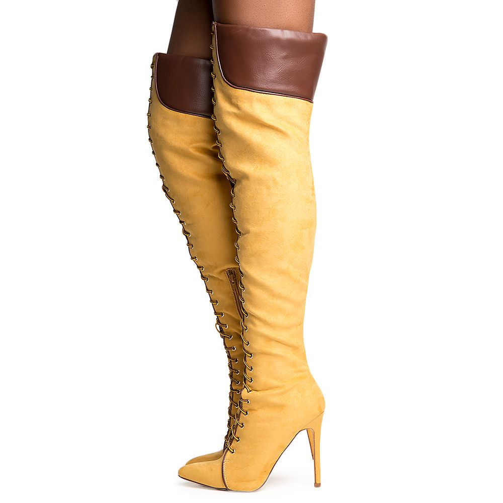 shoes for cheap fresh styles new concept Women's Million Lace Up Thigh High Boots Camel