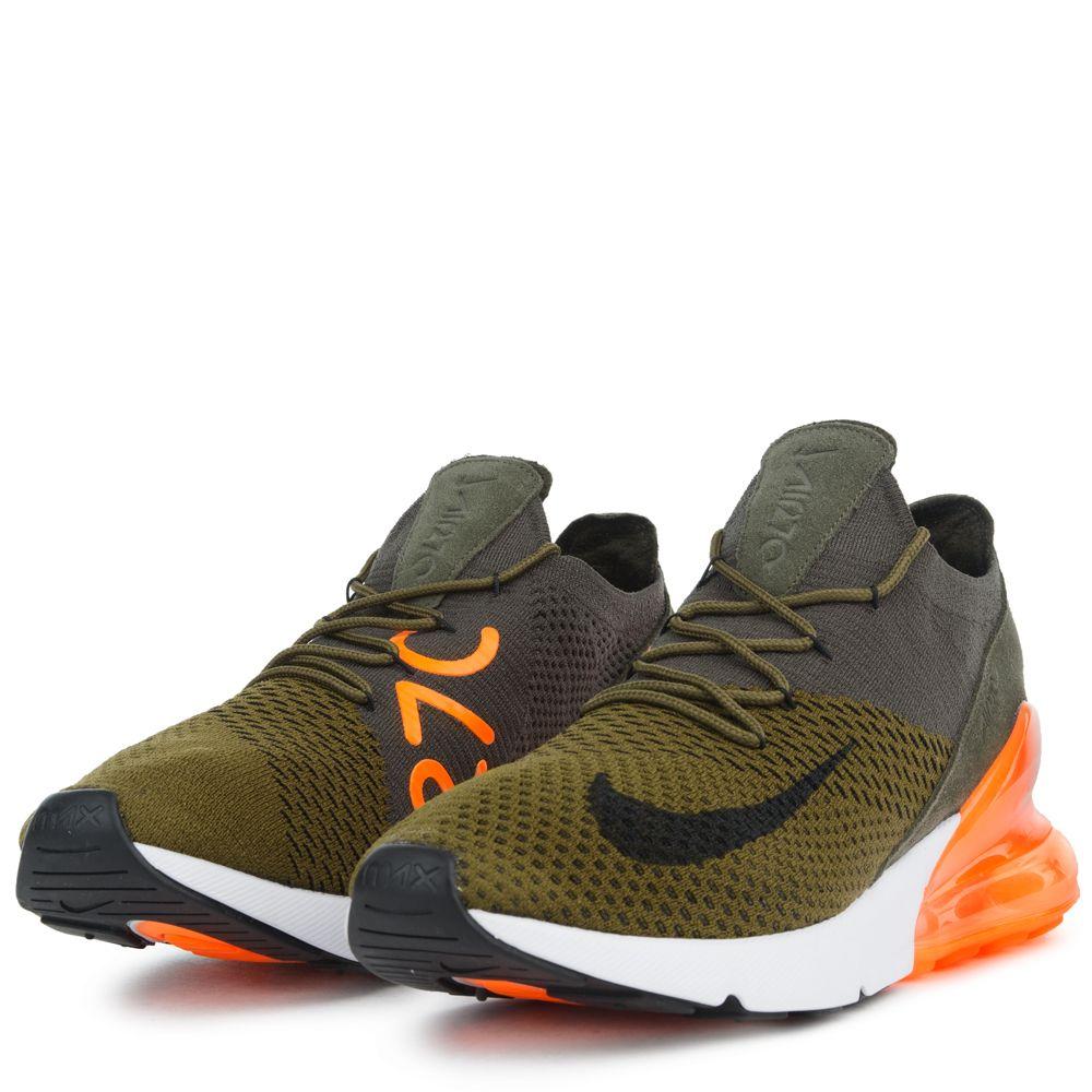 Nike Air Max 270 Flyknit Olive Flak Black Yellow