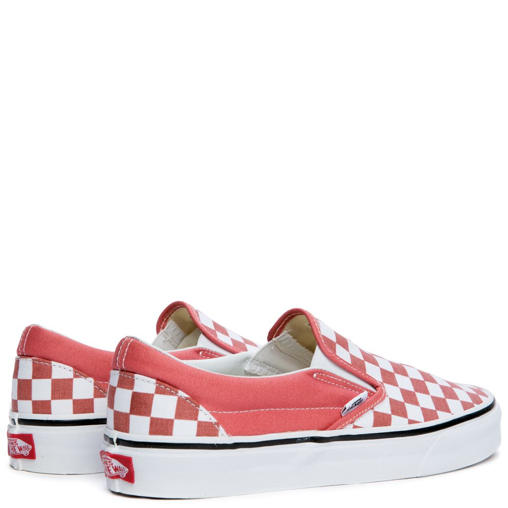 largest selection of many fashionable shop for WOMEN'S VANS CLASSIC SLIP ON CHECKERBOARD FADED ROSE/TRUE WHITE