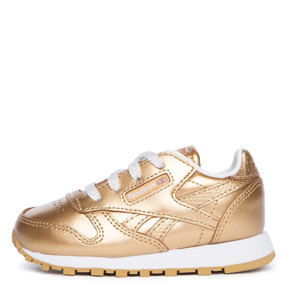 Infant Classic Leather Metallic Sneaker RBK BRASSWHITE