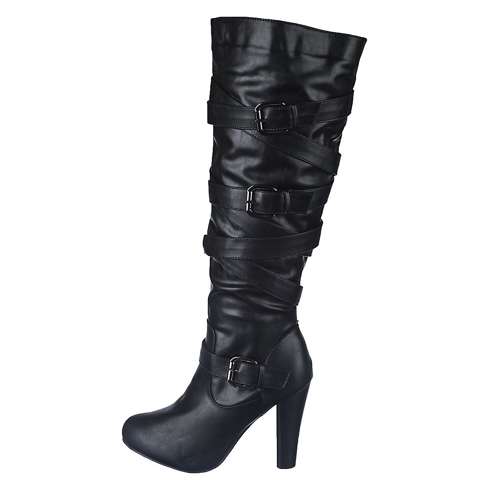 sneakers shop best sellers fair price Women's Knee-High Leather Boot Apollo-1 Black