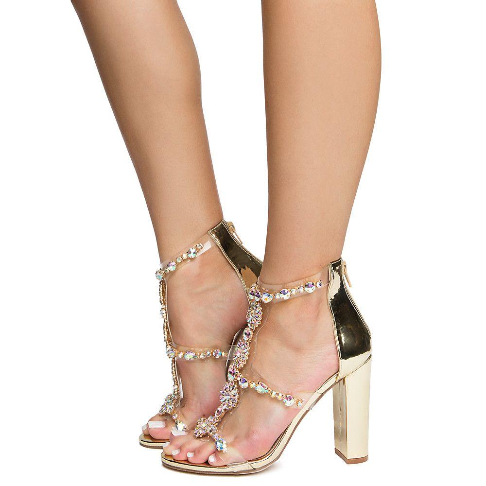Gold Jeweled Heels