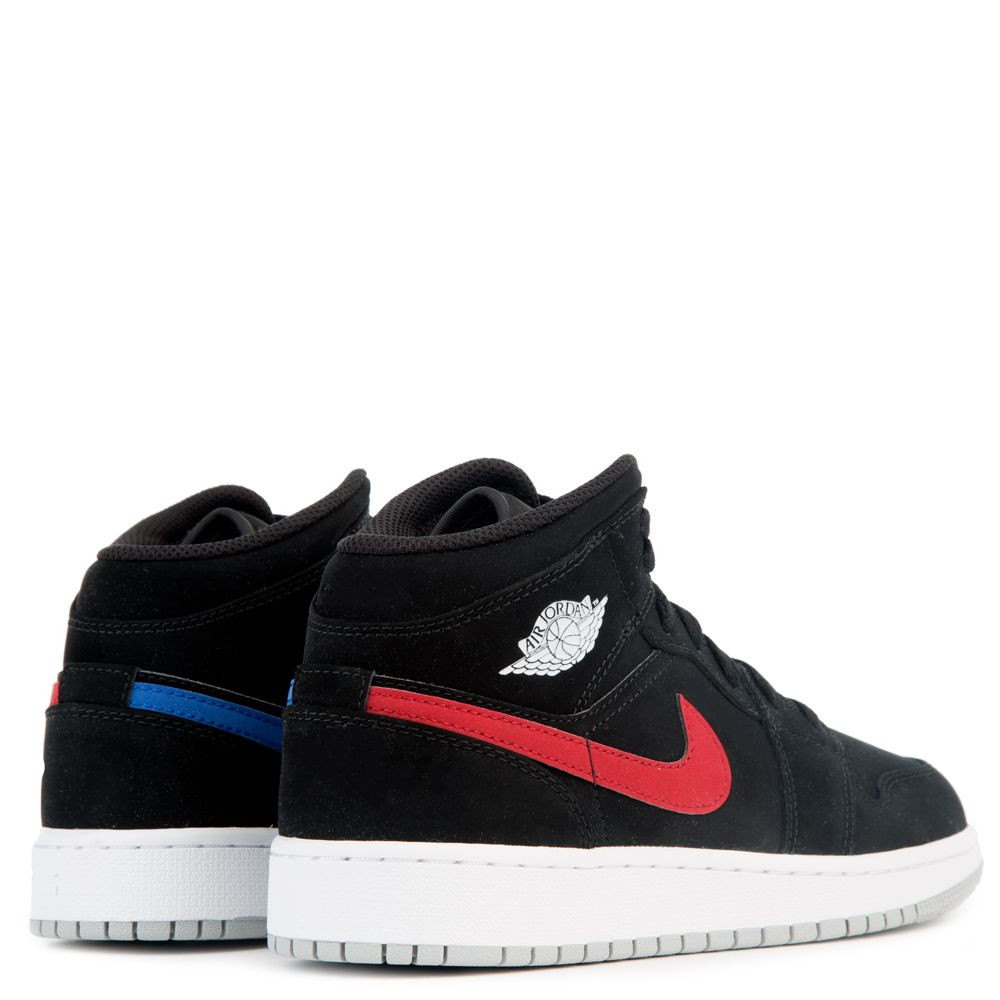newest f4a16 40c92 AIR JORDAN 1 MID (BG) BLACK/UNIVERSITY RED-HYPER ROYAL-WHITE