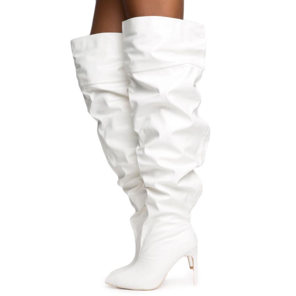 White Thigh High Boot White