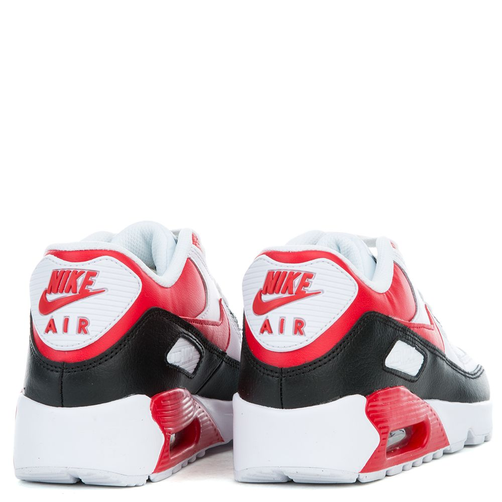 Nike Air Max 90 Leather (GS) White University Red Wolf Grey
