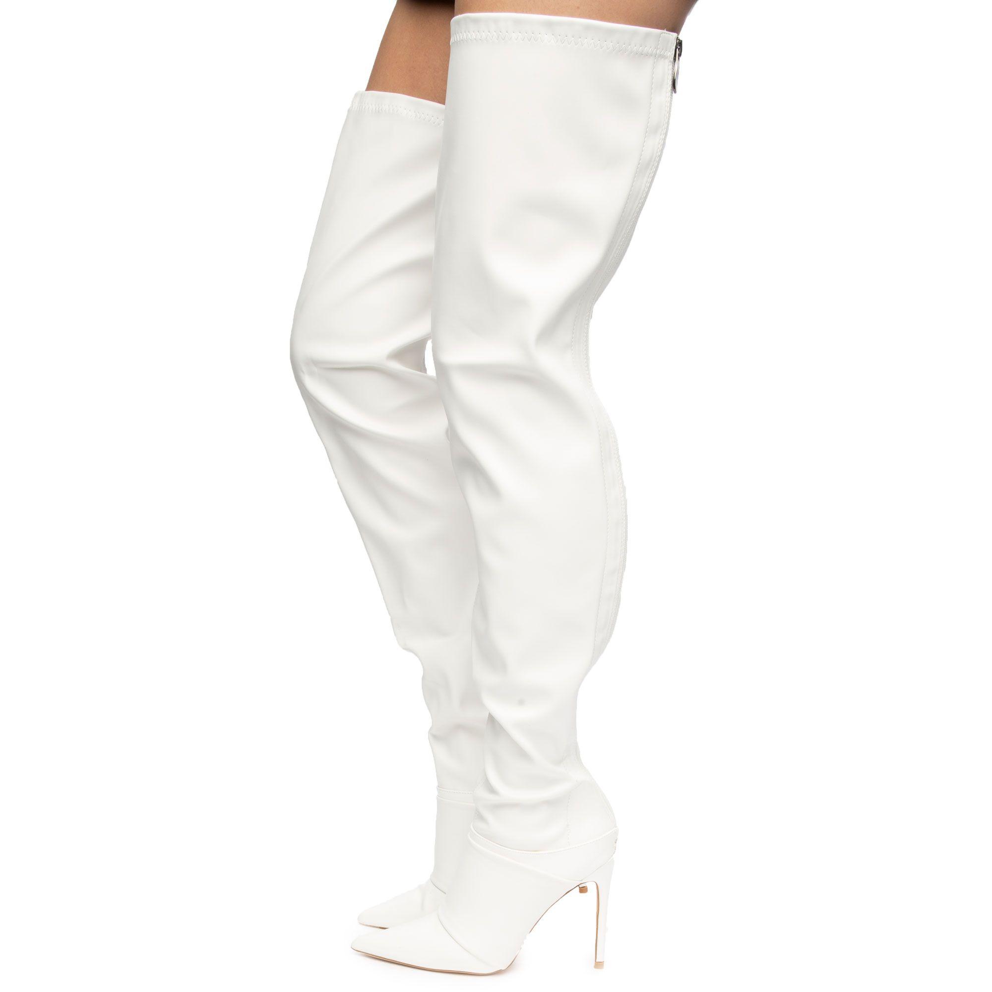 Tyris-1 Thigh High Boots White