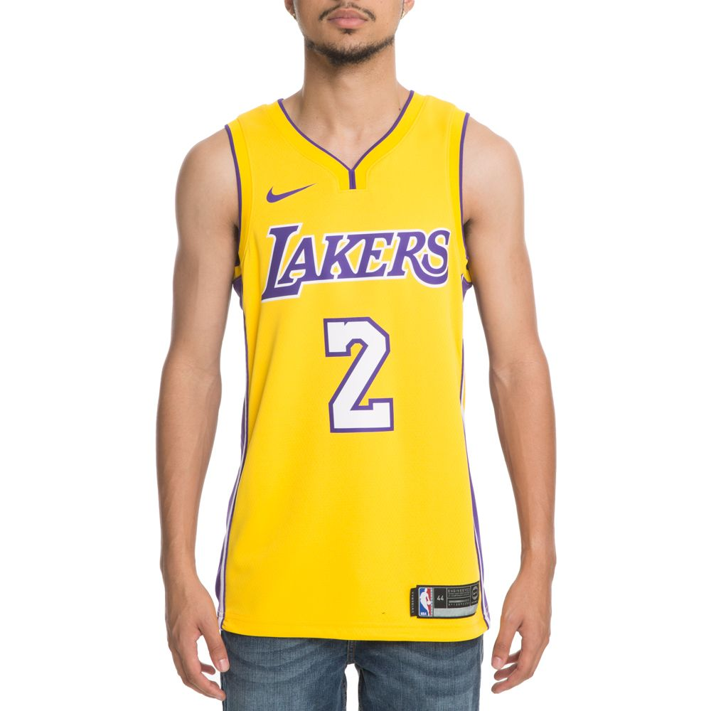 newest 2338a 4d30f MEN'S NIKE LONZO BALL ICON EDITION SWINGMAN JERSEY (LOS ANGELES LAKERS)  AMARILLO/FIELD PURPLE/WHITE