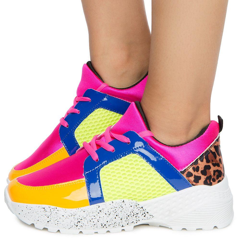 Color Block Sneaker FUSCHIA/NEON MULTI