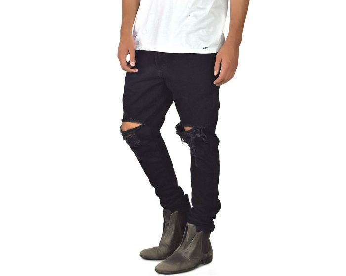 a327a7f5 enslaved Denim Ripped Custom Tapered Jeans Black