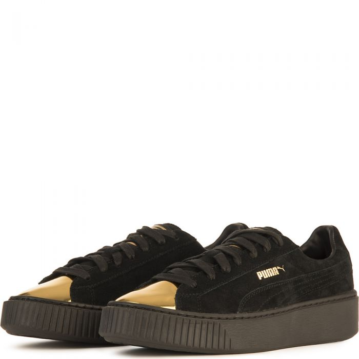low priced 6ff79 73468 Women's Suede Platform Gold Casual Sneaker Black/Gold