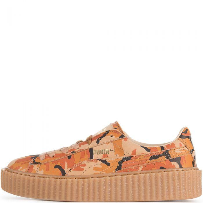 huge selection of cfc77 d5f45 Orange Camo Women's Casual Sneaker Rihanna Suede Creepers