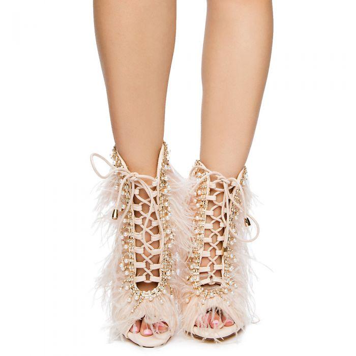 Public Desire Spectrum Lace Up Ankle Boots In Nude Faux