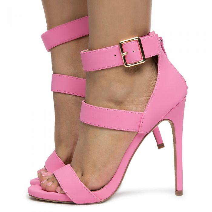 20cbad69853b Women s Jesse-392 Rounded Open Toe Heels PINK PU