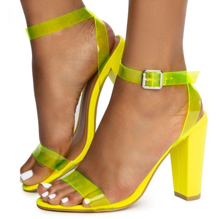 8b81a1364e Mania-41 One Band Heels Neon Yellow ...