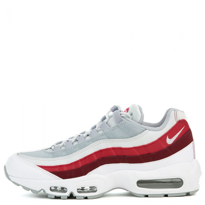 NIKE AIR MAX 95 ESSENTIAL WHITEWOLF GREY PURE PLATINUM TEAM RED