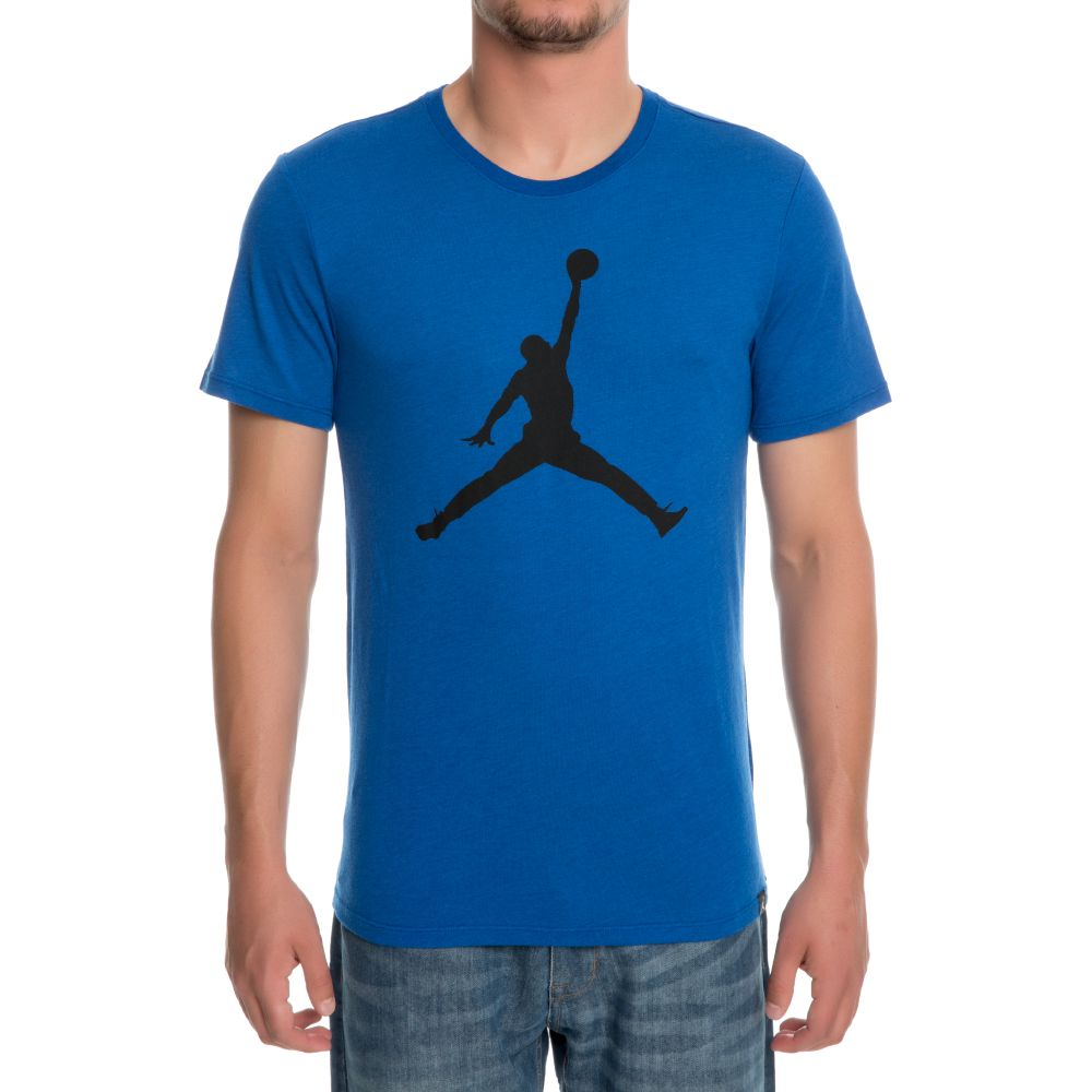 Jordan iconic jumpman logo t shirt team royal black for Jordan royal 1 shirt