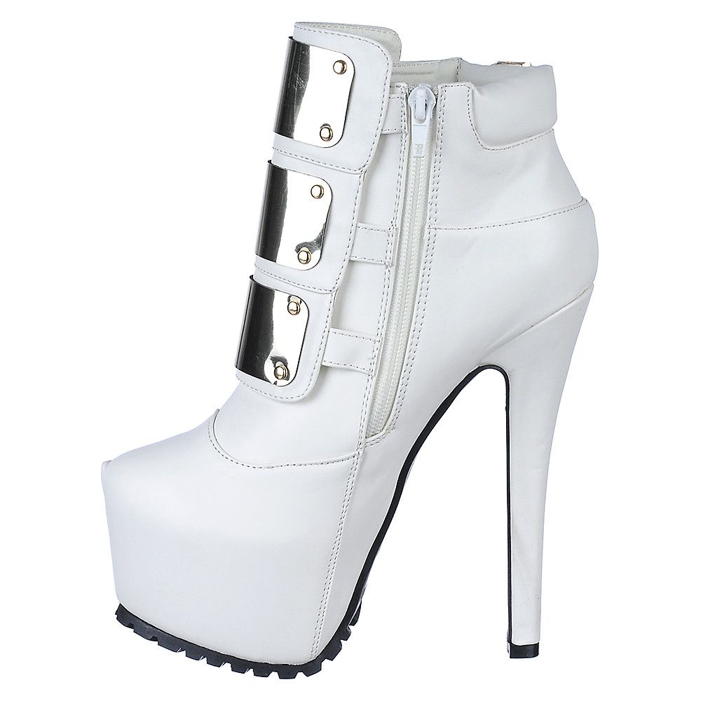 Shiekh Jaylo-12 Women's White Platform High Heel Ankle Boot ...