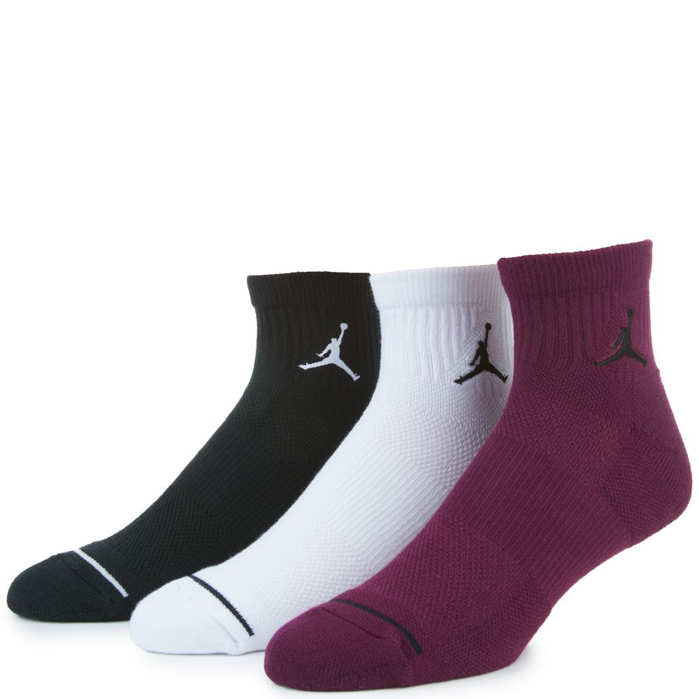 UNISEX JORDAN JUMPMAN HIGH-INTENSITY QUARTER SOCK (3 PAIR) BLACK/WHITE/WOLF  GREY