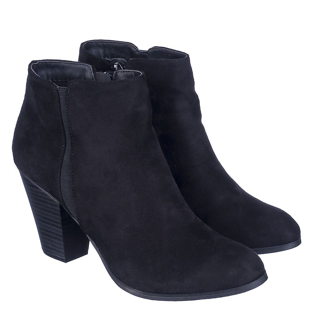 shiekh tevay h s black suede low heel ankle boots