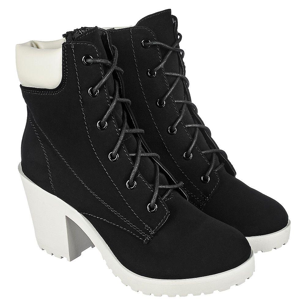 Women's Low Heel Ankle Boot Keelo-H Black/White