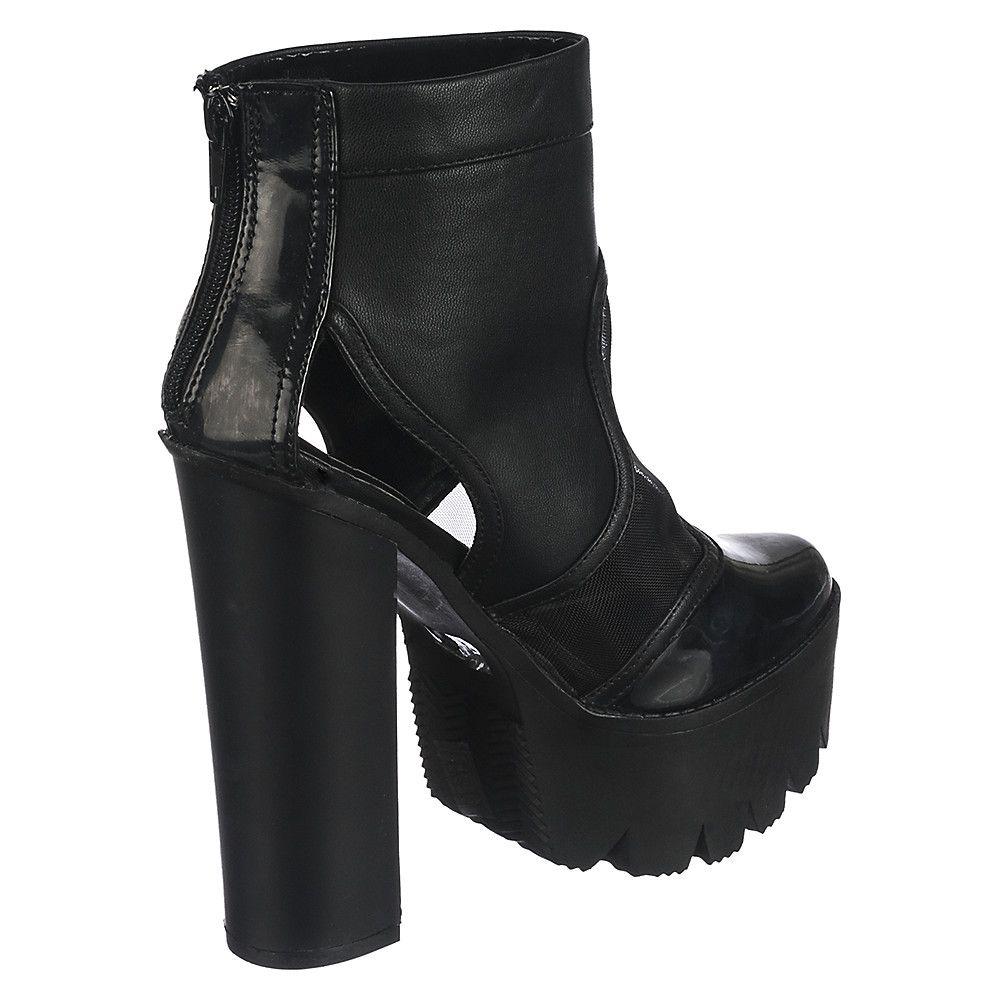 Cape Robbin Rocker06 Women's Black High Heel Platform Ankle Boot ...