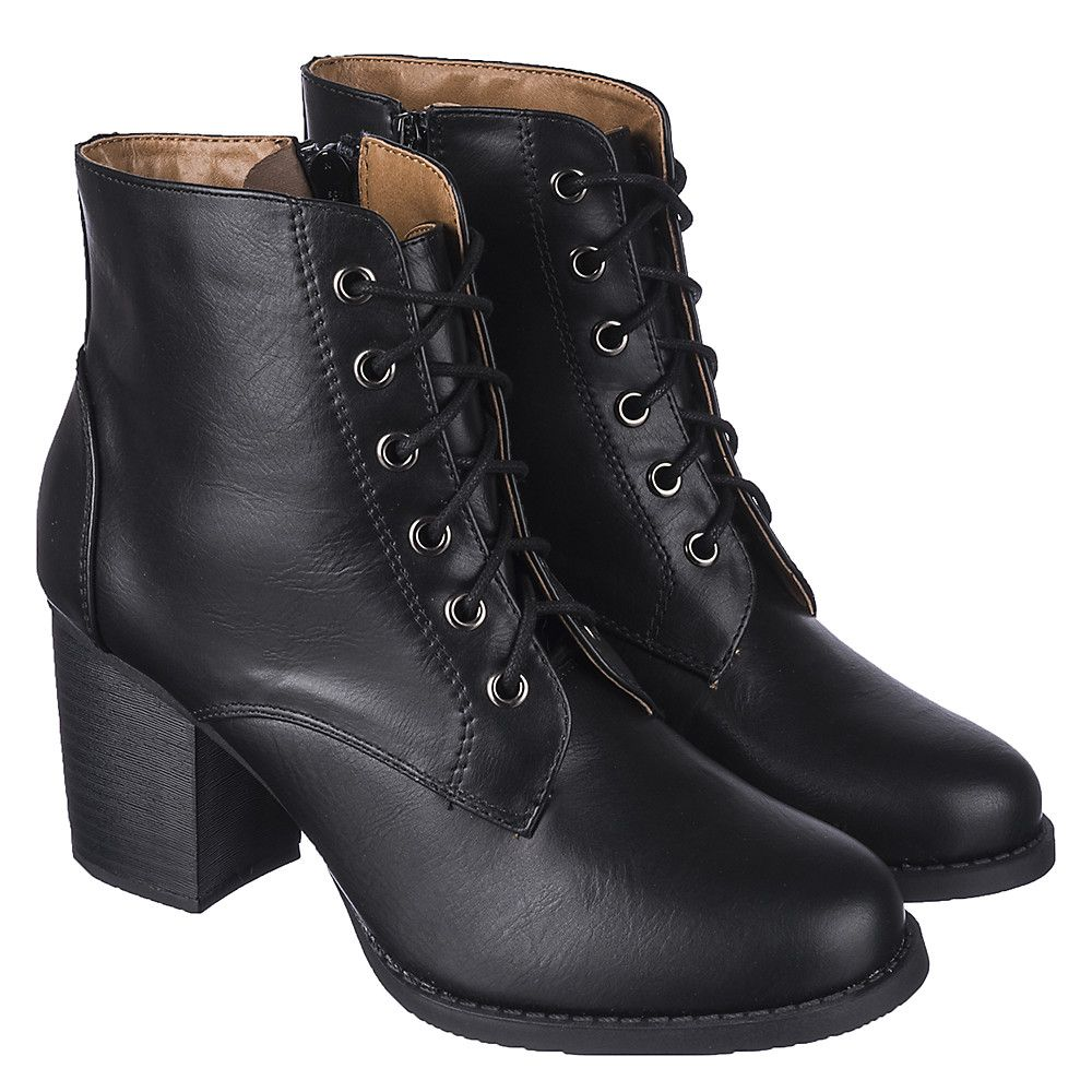 Women's Low Heel Lace-Up Boot Korman-S Black | Shiekh Shoes