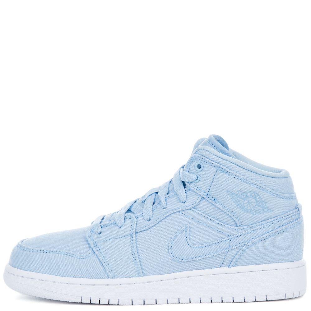 Air Jordan 1 Mi Bg Bleu Glacier / Glace Pompes Bleu-blanc à la mode faux sortie Manchester rabais d'origine pas cher 23dZCmu