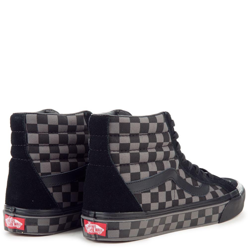 black and grey check vans