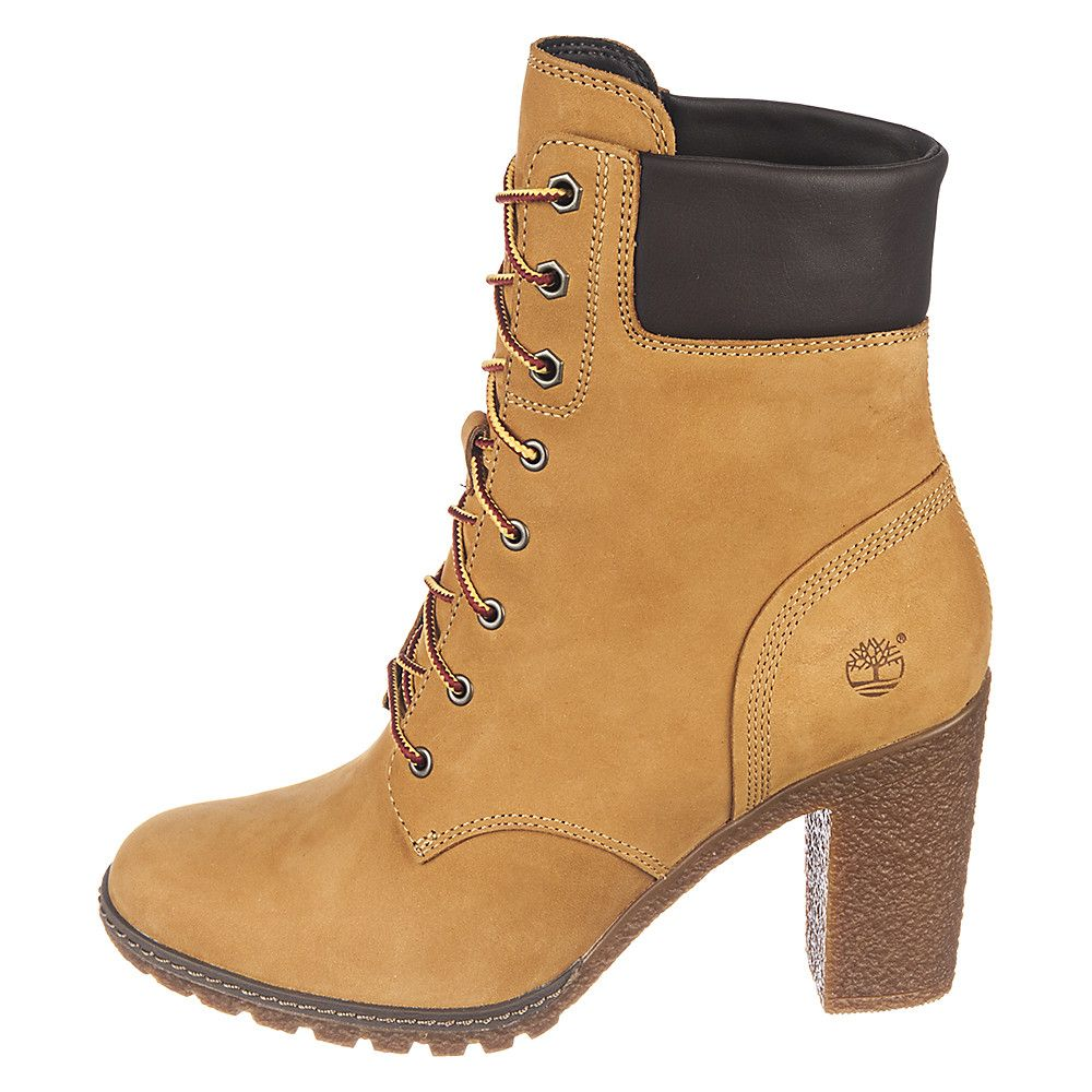Lastest TIMBERLAND Womenu0026#39;s High Heel Boot Lace Up Closure Suede Body TIMBERLAND Logo Lettering On Tongue ...