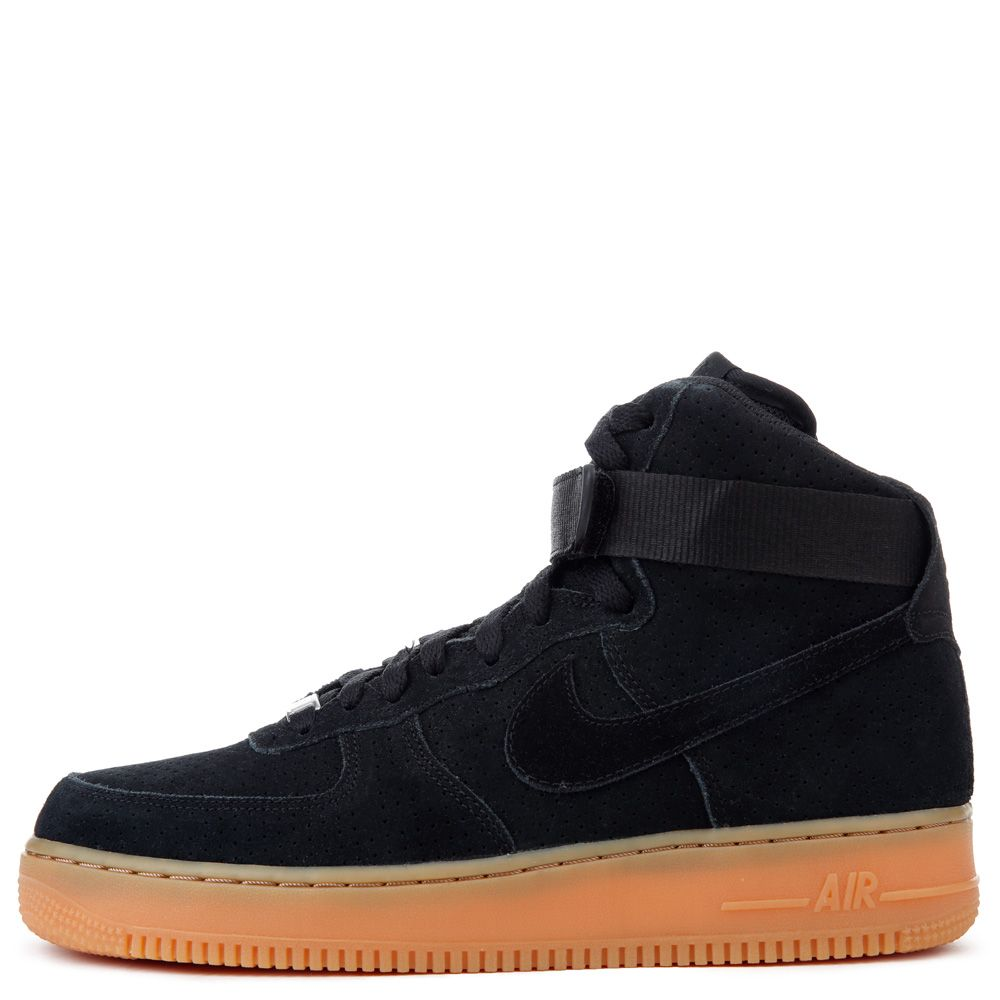 le nike air force 1 hi di velluto nero / gomma med brown